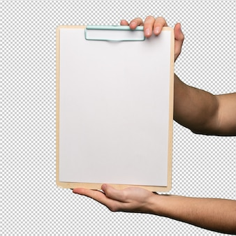Presse-papiers sur fond blanc