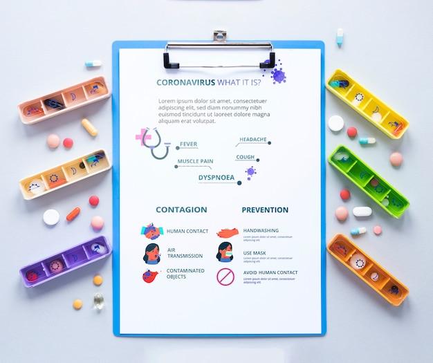 Presse-papiers avec des pilules sur la table