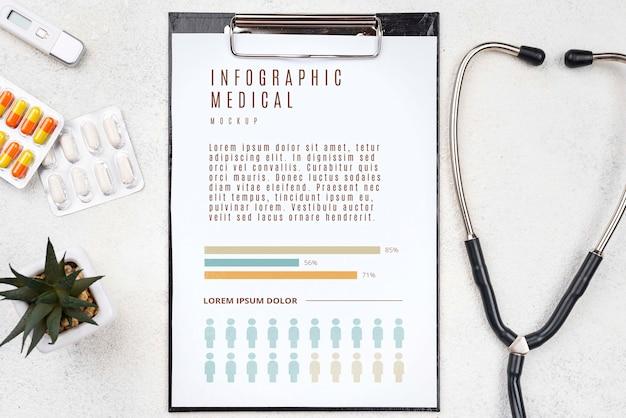 Presse-papiers vue de dessus sur le bureau médical