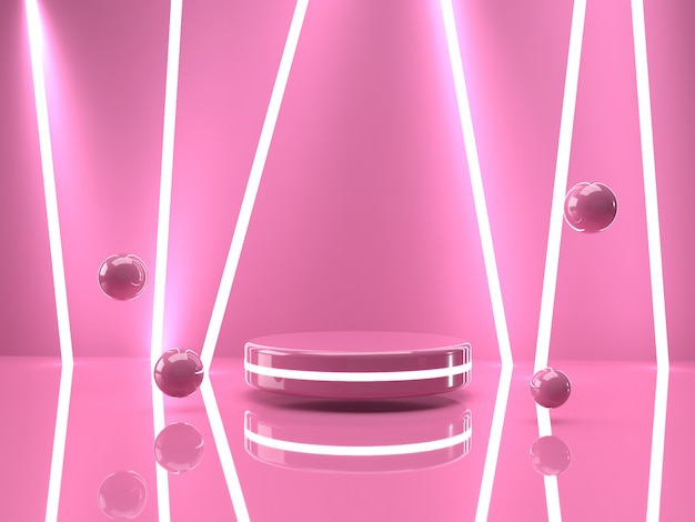 Produit 3d rendu rose stand sur fond.