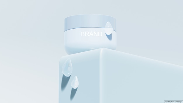 Produit de beauté sur podium bleu avec bulle d'eau rendu 3d