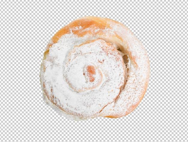 Produit de boulangerie de sucre isolé sur fond blanc