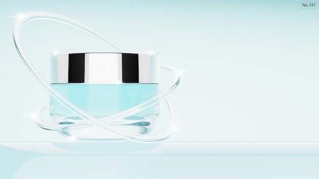 Produit cosmétique avec bagues en verre sur bleu clair. rendu 3d