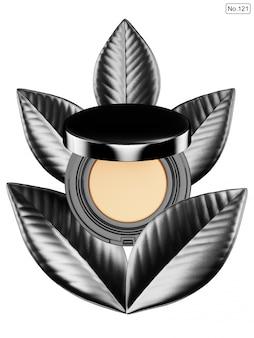 Produit cosmétique et feuille noire sur blanc