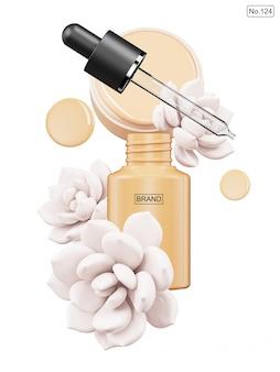 Produit cosmétique et fleur blanche sur blanc