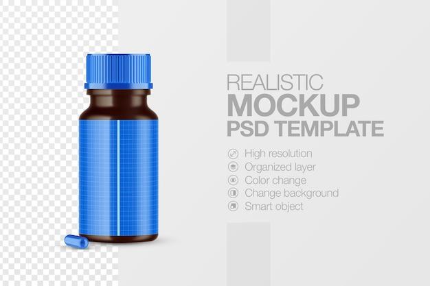 Produit de maquette de bouteille de pilule réaliste isolé