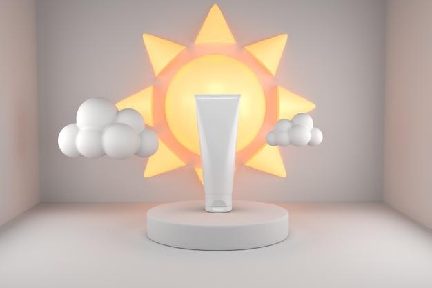 Produit de protection solaire uv avec soleil poduim