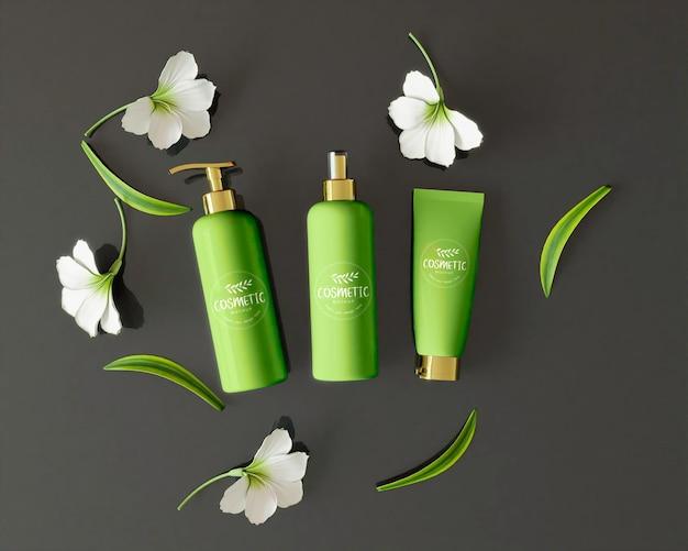 Produits cosmétiques avec des feuilles et des fleurs
