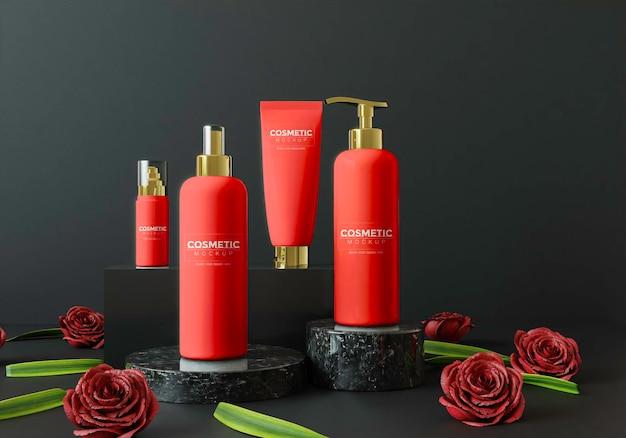 Produits cosmétiques sur un podium avec des fleurs