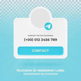 Profil d'icône de bannière sur bannière de rendu 3d télégramme isolé