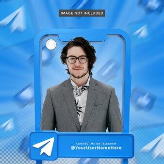 Profil d'icône de bannière sur le cadre de rendu 3d de télégramme
