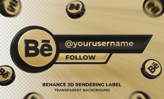 Profil d'icône de bannière sur l'étiquette de rendu 3d behance isolé