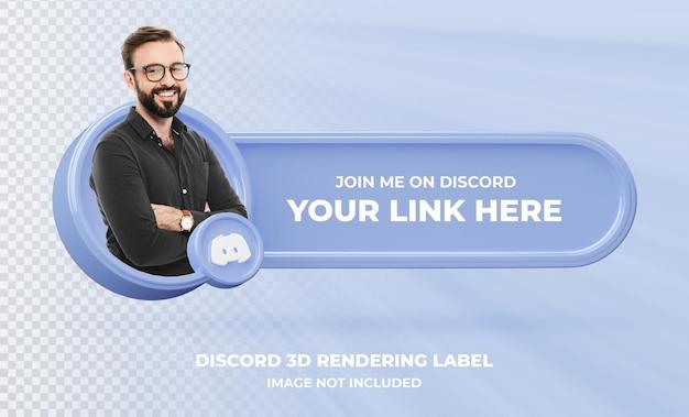 Profil d'icône de bannière sur l'étiquette de rendu 3d discord isolé