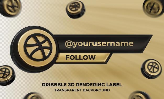 Profil d'icône de bannière sur l'étiquette de rendu 3d dribbble isolé