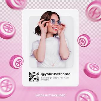 Profil de l'icône de la bannière sur l'étiquette de rendu 3d dribbble isolé