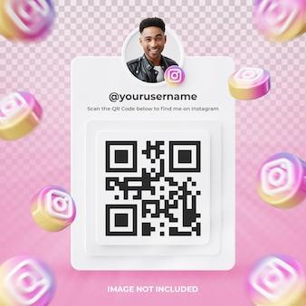 Profil d'icône de bannière sur l'étiquette de rendu 3d instagram isolé