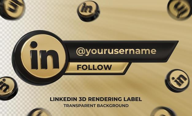 Profil d'icône de bannière sur l'étiquette de rendu 3d linkedin isolé