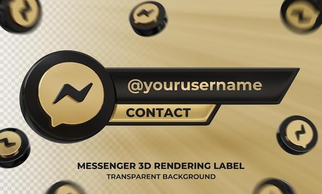 Profil d'icône de bannière sur l'étiquette de rendu 3d messenger isolé