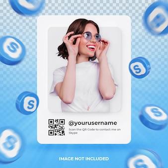 Profil d'icône de bannière sur l'étiquette de rendu 3d skype isolé