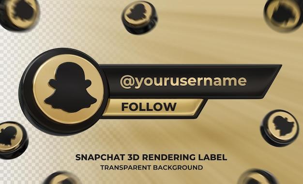Profil d'icône de bannière sur l'étiquette de rendu 3d snapchat isolée