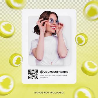 Profil d'icône de bannière sur l'étiquette de rendu 3d de snapchat isolée