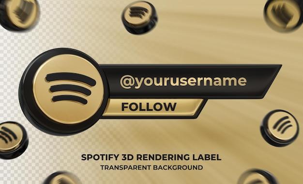 Profil d'icône de bannière sur l'étiquette de rendu 3d spotify isolé