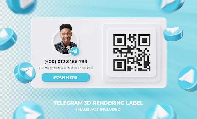 Profil d'icône de bannière sur l'étiquette de rendu 3d de télégramme isolé