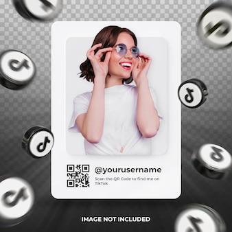 Profil d'icône de bannière sur l'étiquette de rendu 3d tiktok isolé