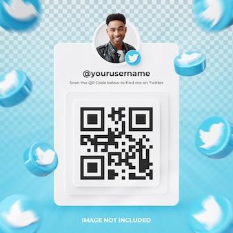 Profil d'icône de bannière sur l'étiquette de rendu 3d twitter isolé