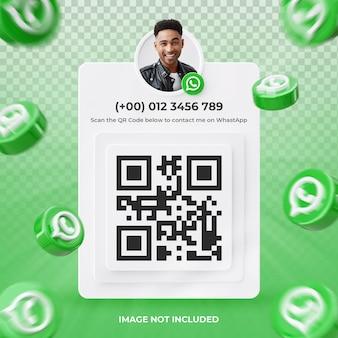 Profil d'icône de bannière sur l'étiquette de rendu 3d whatsapp isolée