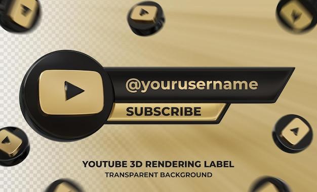 Profil d'icône de bannière sur l'étiquette de rendu 3d youtube isolé