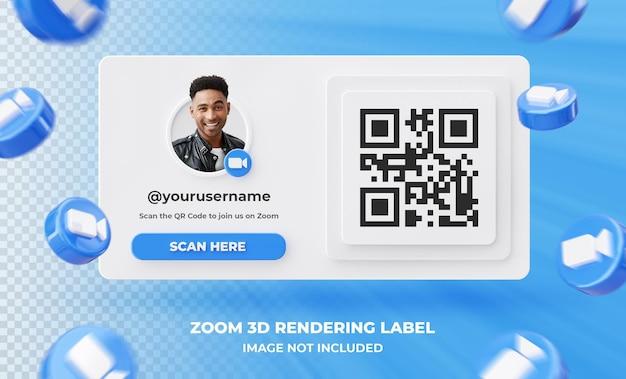 Profil d'icône de bannière sur l'étiquette de rendu 3d zoom isolé