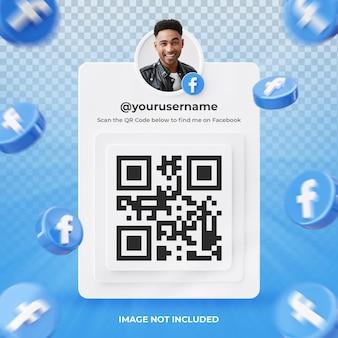 Profil d'icône de bannière sur facebook étiquette de rendu 3d isolé