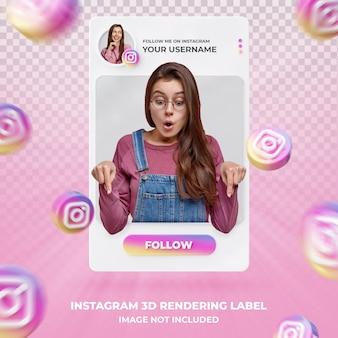Profil d'icône de bannière sur instagram modèle d'étiquette de rendu 3d