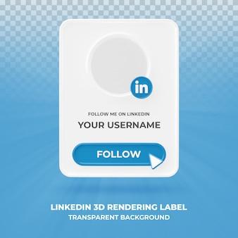Profil d'icône de bannière sur linkedin bannière de rendu 3d isolé