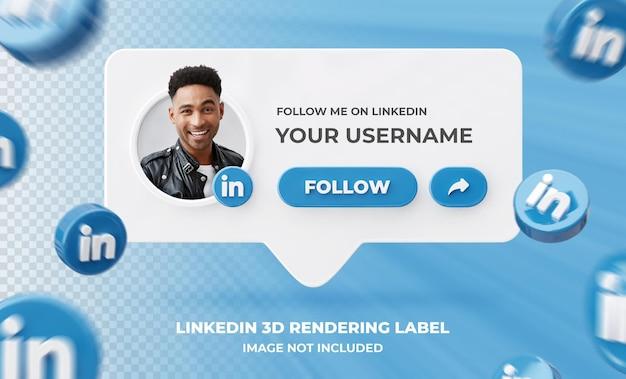 Profil d'icône de bannière sur le modèle d'étiquette de rendu 3d linkedin