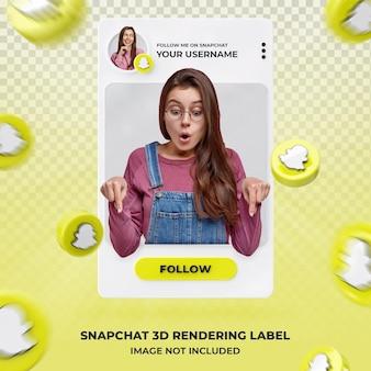 Profil d'icône de bannière sur le modèle d'étiquette de rendu 3d de snapchat