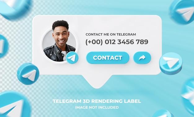 Profil d'icône de bannière sur le modèle d'étiquette de rendu 3d de télégramme