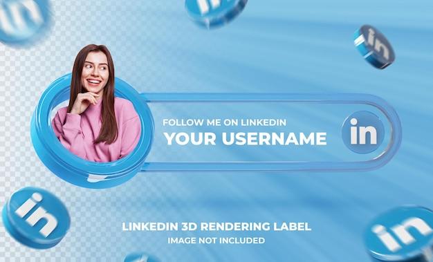 Profil D'icône De Bannière Sur Le Modèle De Rendu 3d Linkedin PSD Premium