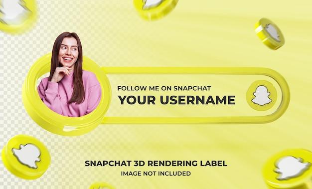 Profil d'icône de bannière sur le modèle de rendu 3d de snapchat