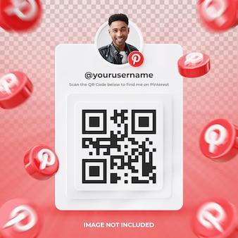 Profil d'icône de bannière sur pinterest étiquette de rendu 3d isolé