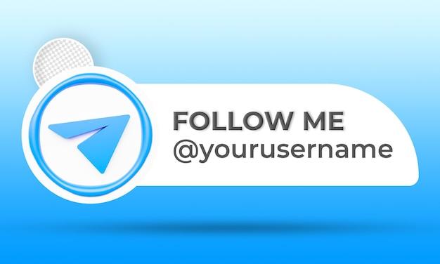 Profil d'icône sur la bannière de télégramme suivez-moi étiquette de rendu 3d
