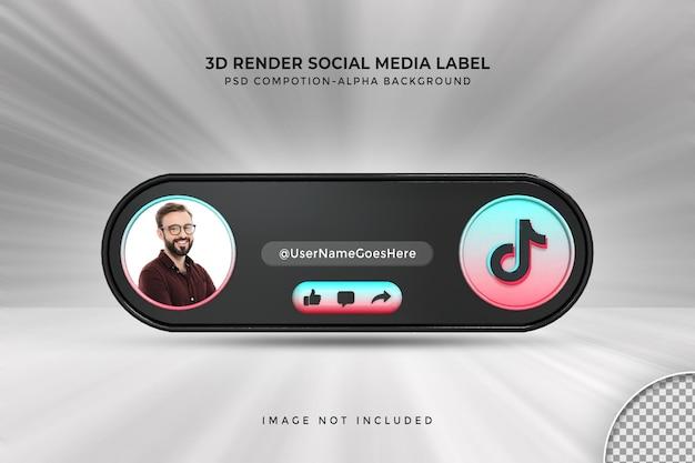 Profil d'icône de bannière sur tiktok étiquette de rendu 3d en streaming en direct
