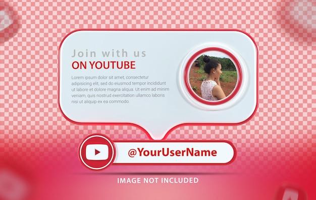 Profil de maquette de bannière avec rendu 3d de l'icône youtube