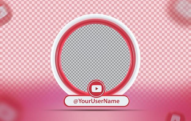 Profil de maquette de concept créatif avec icône youtube