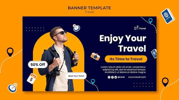 Profitez du modèle de bannière de voyage