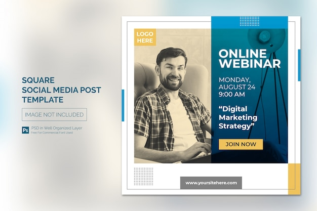 Programme de cours en ligne sur les médias sociaux ou modèle de bannière carrée