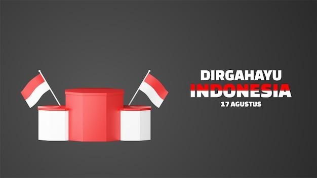 La promo du podium vide de la fête de l'indépendance de l'indonésie affiche l'arrière-plan du paysage. 17 août 76 ans d'indonésie
