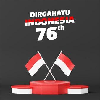 La promo de podium vide de la fête de l'indépendance de l'indonésie affiche un fond carré. 17 août 76 ans d'indonésie