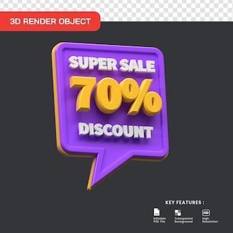 Promo super vente 3d 70 pour cent de réduction isolé utile pour le commerce électronique et l'illustration de la boutique en ligne